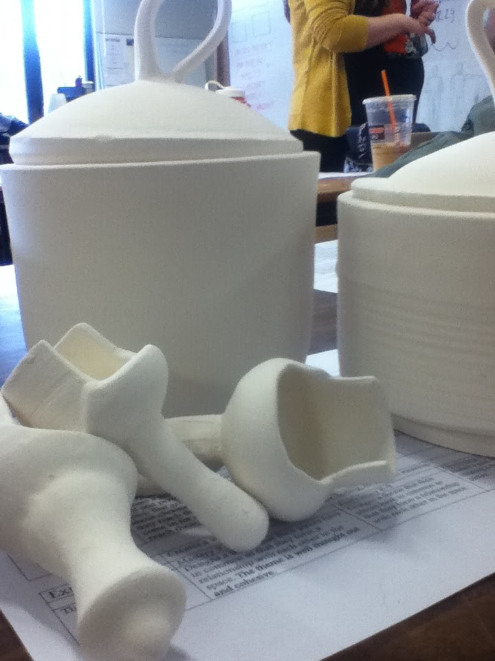 Schuyler's pots with their lids and scoops from pottery.