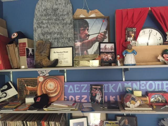 Social studies teacher Ben Heintz's bookshelf.